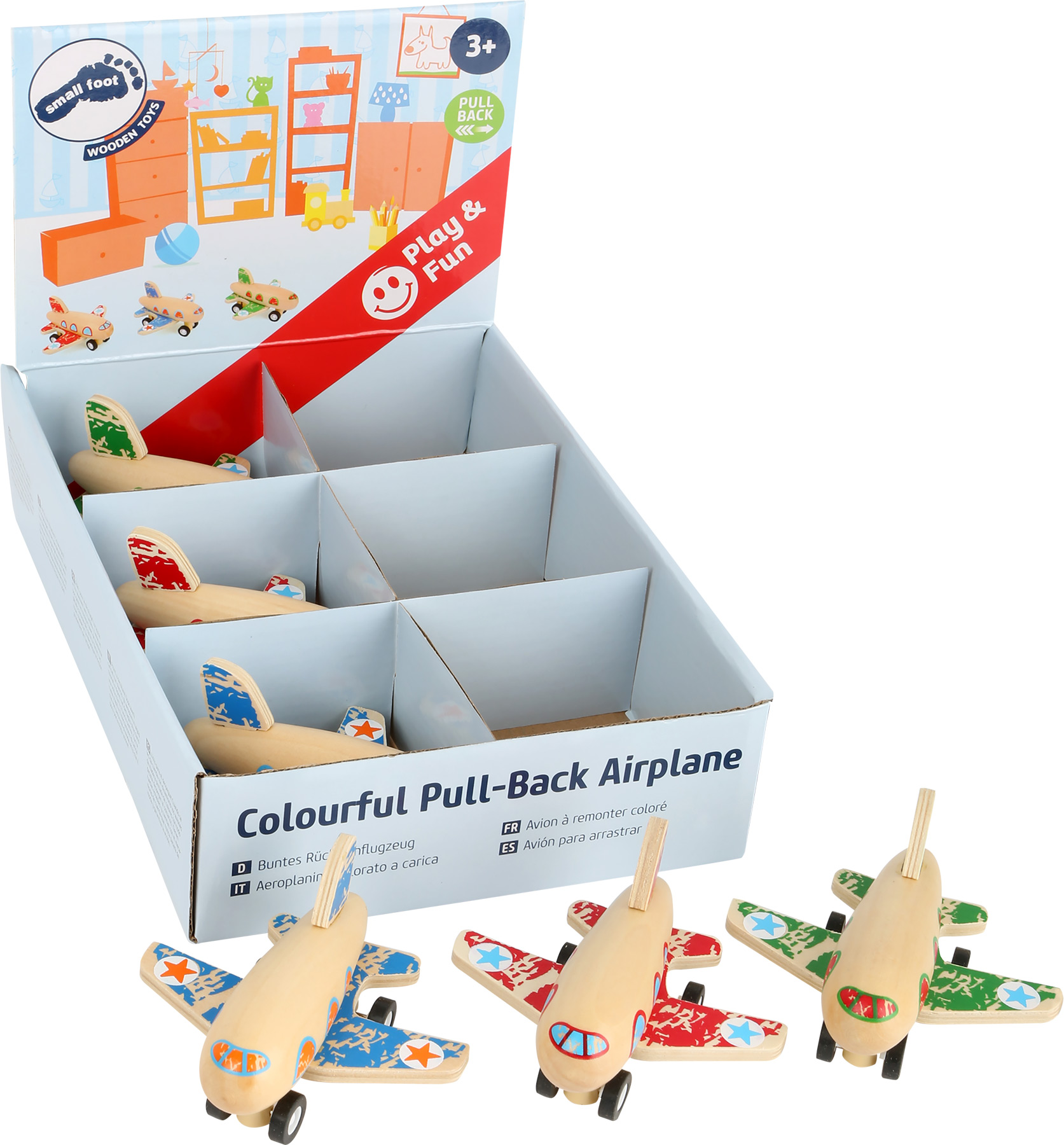 small foot Colourful Pull Back Airplane Display Displays